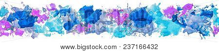 Brush Stroke. Acrylic Paint Stain. Long Border Of Gouache Watercolor Color Paint Brush Stain Strokes