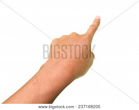 Hand Gestures, Index Finger Touching Or Pointing Something. Isolated In The White Background.
