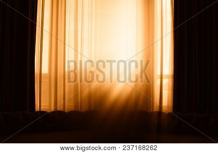 Vertical Window Curtains With Dramatic Light Leak Background Hd