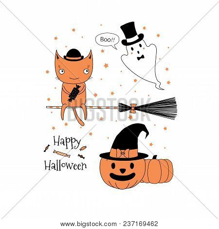 Hand Drawn Vector Illustration Of A Cute Funny Cat With A Candy On A Broomstick, Ghost, Jack O Lante