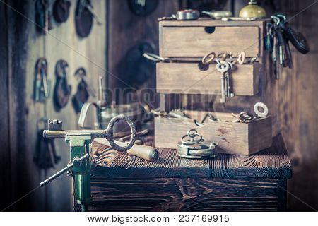 Vintage Locksmiths Workshop Full Of Locks And Keys