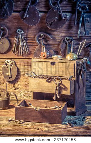 Closeup Of Tools, Locks And Keys In Locksmiths Workshop