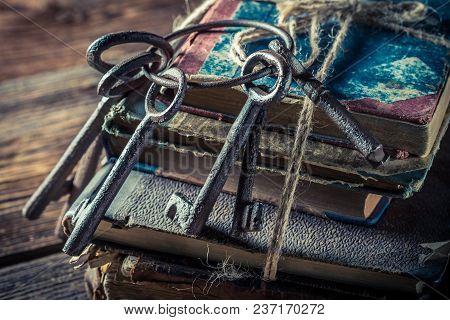 Closeup Of Old Keys On Vintage Books