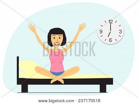 The Girl Wakes Up In The Morning. Flat Vector Illustration. Young Woman Sitting On Bed. Big Clock On