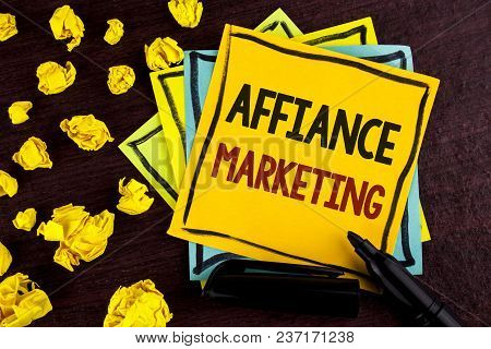 Conceptual Hand Writing Showing Affiance Marketing. Business Photo Showcasing Joining Two Or More Co