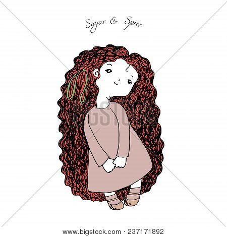 Hand Drawn Illustration Of A Cute Little Girl With Very Long Hair, In Simple Dress And Mary Jane Sho
