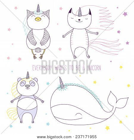 Hand Drawn Vector Illustration Of A Cute Whale, Cat, Panda And Owl As Unicorns Among The Stars, With