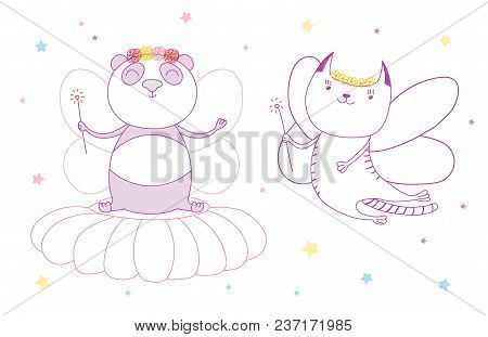 Hand Drawn Vector Illustration Of A Cute Cat And Panda As Flower Fairies With Magic Wands, Among The