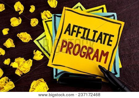 Conceptual Hand Writing Showing Affiliate Program. Business Photo Showcasing Software Link Songs App