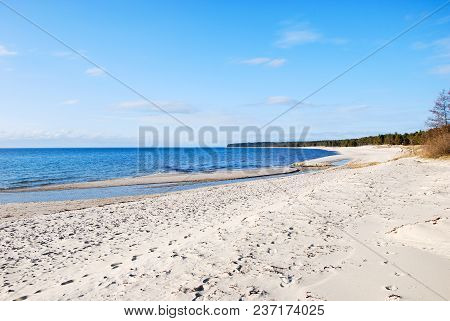 Lovely Sand Beach With Blue Sky And Water At Byrum On The Swedish Island Oland