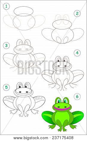 Page Shows How To Learn Step By Step To Draw A Funny Frog. Developing Children Skills For Drawing An