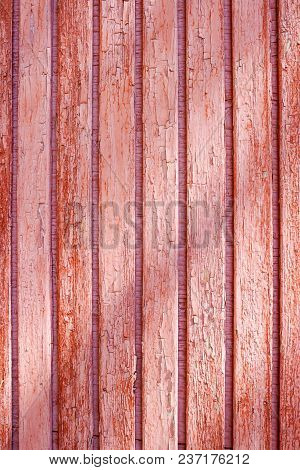 Old Red Grunge Cracked Wooden Fence Wood Panels