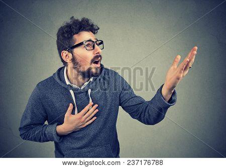 Desperate Beard Man Screaming Asking For Help Forgiveness