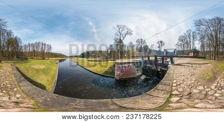 Panorama 360 Angle View Near Gateway Lock Sluice Construction On River, Canal For Passing Vessels At