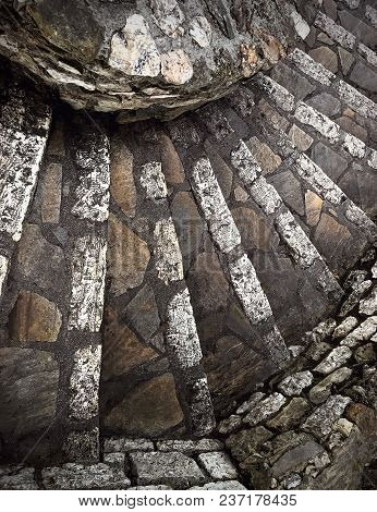 An Ancient Stone Spiral Staircase, France, From Above