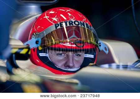 VALENCIA, SPAIN - FEBRUARY 3: F1 Test - Michael Schumacher  - on February 3, 2010 in Cheste, Valencia, Spain