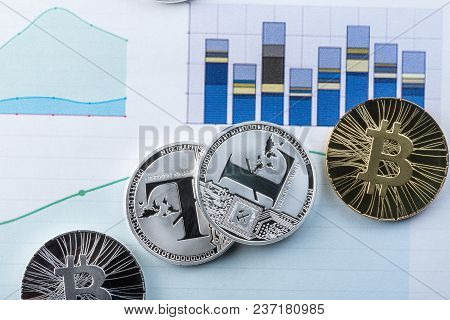 Litecoin And Bitcoin On The Charts Of Exchange Trades Showing The Growth And Fall Of The Crypto Curr