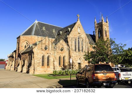 Wagga Wagga, Australia - March 21, 2018:  Lateral View Of St Michael Cathedral, A Large Gothic Reviv