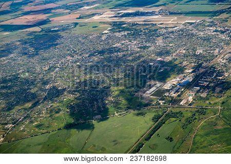 Aerial Landscape View. Part Of City Big Population Living Place.