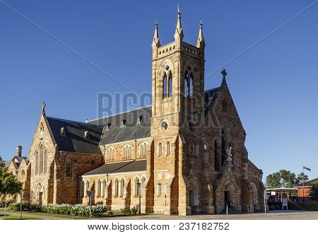 Wagga Wagga, Australia - March 21, 2018:  View Of St Michael Cathedral, A Large Gothic Revival Style