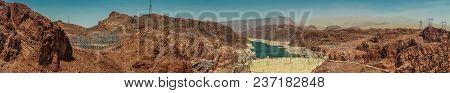 Panorama Of Hoover Dam Hydroelectric Power Station Arizona Nevada Usa