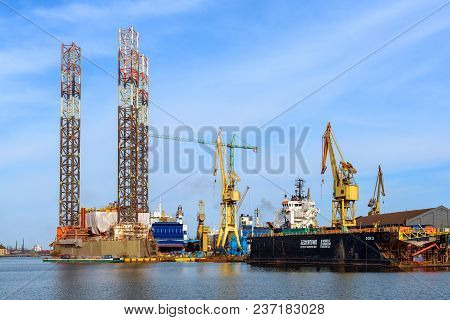 Gdansk, Poland - April 15, 2018: Oil Rig Petrobaltic Docked In Shipyard Of Gdansk. Poland