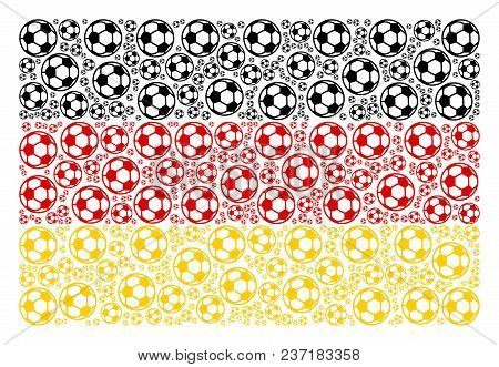 German State Flag Collage Created Of Football Ball Pictograms. Vector Football Ball Icons Are Organi