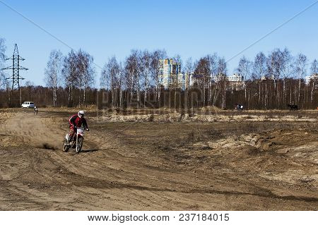 Russia, Moscow, April 14, 2018, Training Teenager Riding Motorcycles, Editorial