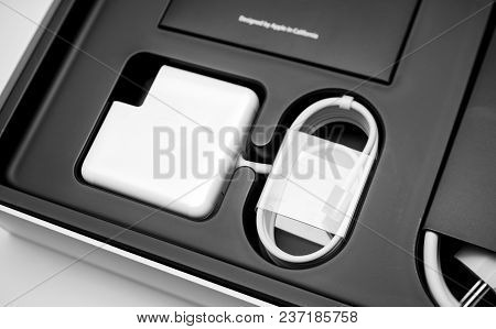 London, United Kingdom - Jan 14, 2015: New Apple Macbook Pro Laptop Computer With Fast Processors An