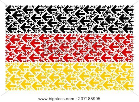 Germany State Flag Composition Organized Of Arrow Left Elements. Vector Arrow Left Icons Are Combine