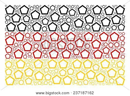 German Flag Mosaic Created Of Contour Pentagon Design Elements. Vector Contour Pentagon Icons Are Or