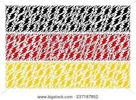 German Flag Pattern Composed Of Electric Spark Elements. Vector Electric Spark Pictograms Are Compos