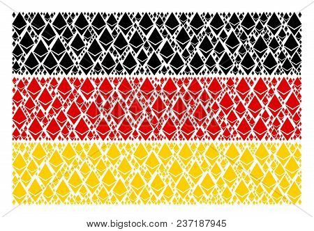 German Flag Collage Designed Of Ethereum Crystal Design Elements. Vector Ethereum Crystal Design Ele