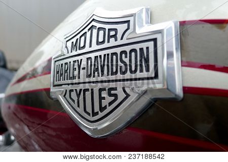 Moscow, Russia, May 28,2011. Detail And Logo Of Harley Davidson Motorcycles On A Tank Of Harley-davi