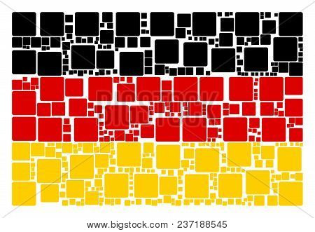 German Flag Concept Constructed Of Filled Square Pictograms. Vector Filled Square Pictograms Are Org