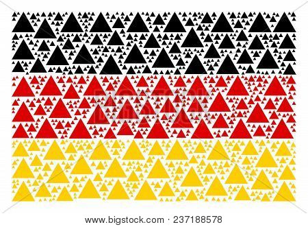 Germany Flag Pattern Constructed Of Filled Triangle Design Elements. Vector Filled Triangle Items Ar