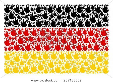 German Flag Composition Combined Of Fire Flame Pictograms. Vector Fire Flame Icons Are Combined Into