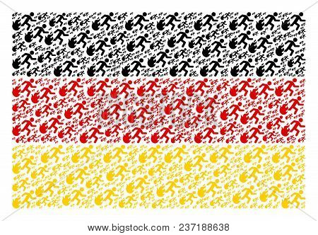 German Flag Pattern Made Of Fired Running Man Icons. Vector Fired Running Man Elements Are Composed