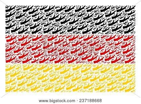 Germany Flag Pattern Made Of Firewood Pictograms. Vector Firewood Pictograms Are Composed Into Geome