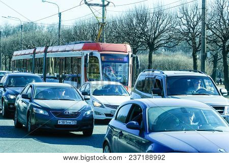 St. Petersburg, Russia - April, 15, 2018: traffic jam on the road of Moscow