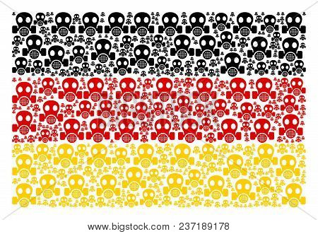 German Flag Concept Done Of Gas Mask Elements. Vector Gas Mask Elements Are United Into Geometric Ge
