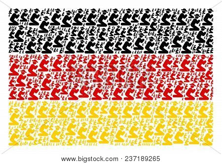 German State Flag Concept Made Of Gentleman Pray Icons. Vector Gentleman Pray Icons Are Organized In