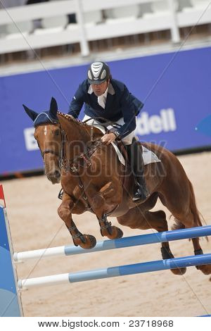 VALENCIA, SPAIN - MAY 7: Rider Jose Diaz Vecino, Horse Nivaquine D?As, Spain in the Global Champions Tour Valencia 2010 equestrian - the City of Arts and Sciences of Valencia, Spain on May 7, 2010
