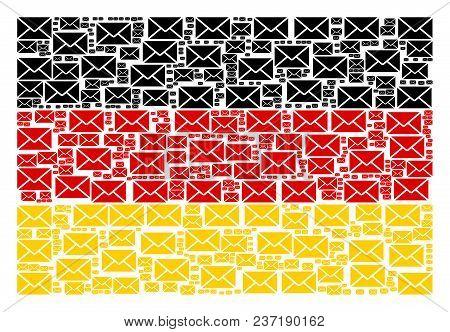 German Flag Concept Done Of Mail Envelope Elements. Vector Mail Envelope Design Elements Are Combine