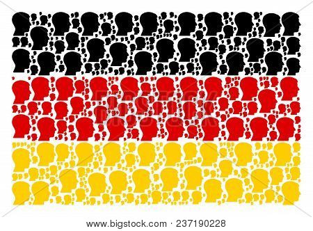 German Flag Pattern Designed Of Man Head Profile Design Elements. Vector Man Head Profile Pictograms