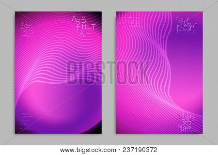 Abstract Cover Template With Stripes On Colorful Blurred Background