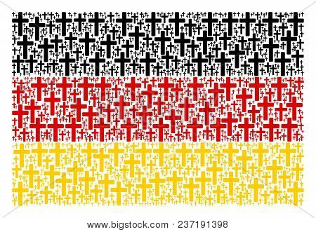 Germany Flag Composition Done Of Religious Cross Icons. Vector Religious Cross Pictograms Are Compos