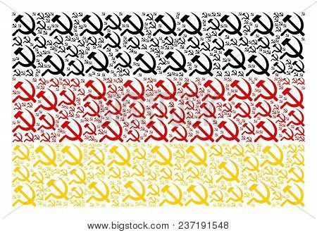 Germany Flag Concept Made Of Sickle And Hammer Pictograms. Vector Sickle And Hammer Design Elements