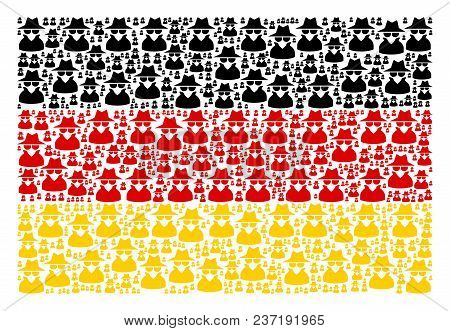 Germany State Flag Composition Done Of Spy Elements. Vector Spy Items Are Organized Into Conceptual