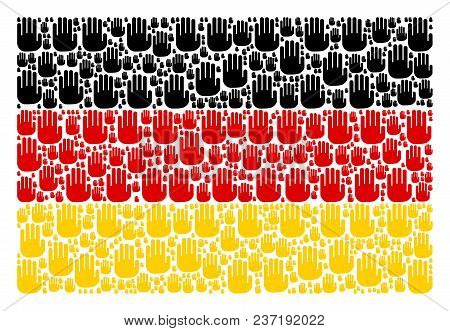 German State Flag Concept Constructed Of Stop Hand Icons. Vector Stop Hand Items Are United Into Geo